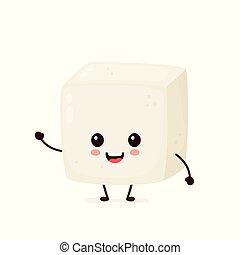 Happy cute smiling funny tofu. Vector