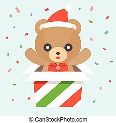 Happy cute teddy bear wears santa hat and red bow in strip of red and green box, flat design