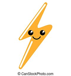 Happy cute thunder weather icon