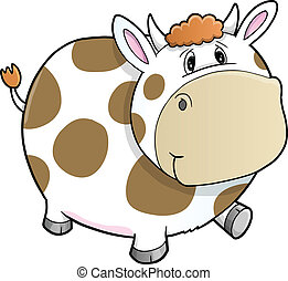 Happy Cute Walking Farm Cow Vector
