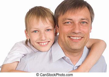 happy dad and son