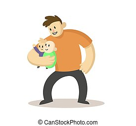 Happy dad holding two babies in his arms, cartoon character...