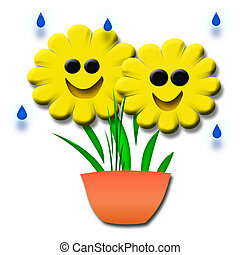 happy daisy - happy smiling 3d yellow flowers in a pot