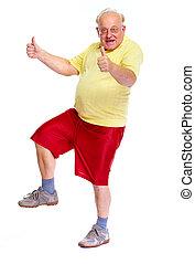 Happy dancing old man.