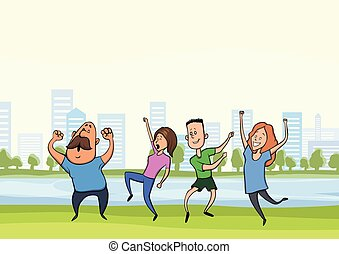 Happy dancing people in city park. Vector illustration.