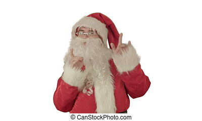 Happy dancing Santa Claus on white background