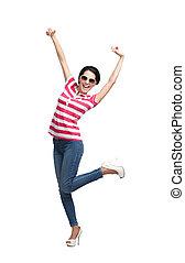 Happy dancing teenager