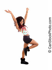 Happy dancing woman.