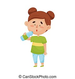 Happy Dark-Haired Little Girl Standing and Drinking Water From Plastic Bottle Vector Illustration
