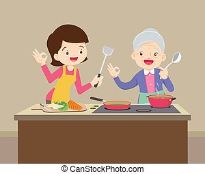 lovely grandmother and woman cooking in kitchen okay gesture