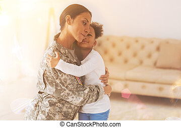 Happy daughter meeting her mother after separation