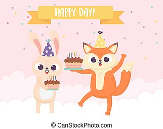 happy day, little fox rabbit with cakes and balloons