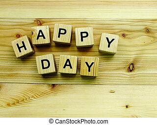 happy day wooden block