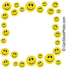 Happy Days - Lots of yellow smiley faces isolated on a white...