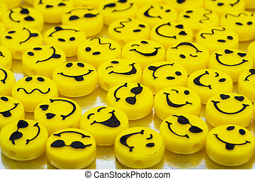 Happy Days - Lots of yellow smiley faces on shiny...