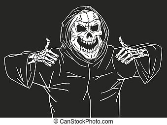 Happy dead smiles. - Dead man smiling and showing a gesture...