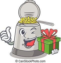 Happy deep fryer character having a gift box