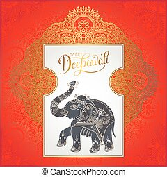 Happy Deepawali greeting card with hand written inscription and