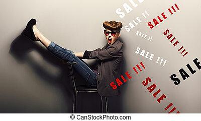 Happy funny young woman - eve xmas sales concept. Fantasy