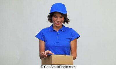 happy delivery girl with parcel box and tablet pc - mail ...