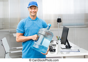 Delivery Man Holding Water Bottle