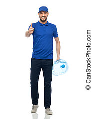 happy delivery man with bottle of water