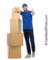 happy delivery man with boxes showing thumbs up