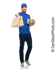 happy delivery man with coffee and food in bag - delivery...