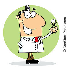 Happy Dentist Man - Caucasian Cartoon Dentist Man Holding A...