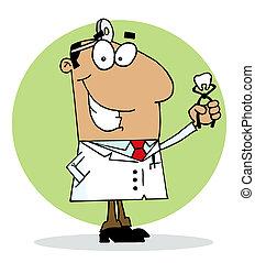 Happy Dentist Man - Hispanic Cartoon Dentist Man Holding A...