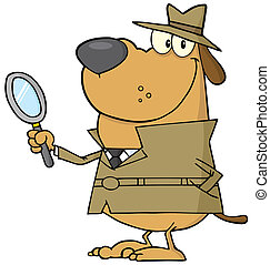 Happy Detective Dog - Detective Dog Holding A Magnifying...