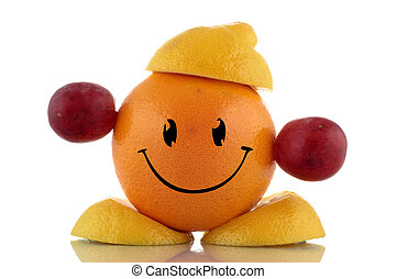 Happy diet. Funny fruits character collection on white...