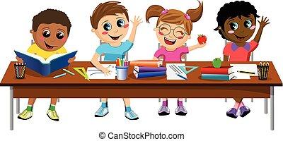 Happy diligent kids children sitting desk school isolated -...