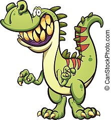 Happy dinosaur - Happy cartoon t-rex dinosaur with a big...