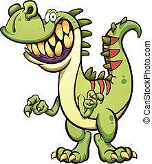 Happy dinosaur - Happy cartoon t-rex dinosaur with a big...