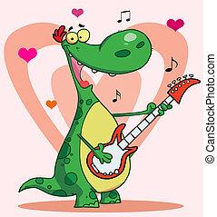 Happy dinosaur plays guitar
