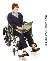 Happy Disabled Businesswoman with Laptop