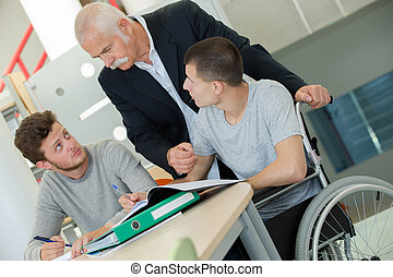 happy disabled man during meeting