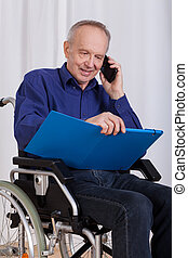 Happy, disabled man
