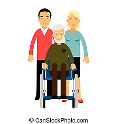 Happy disabled senior man with his family colorful vector Illustration