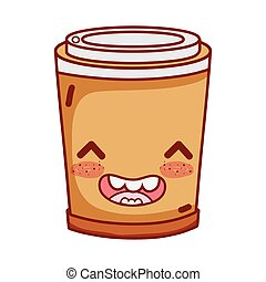 happy disposable cup breakfast food cute kawaii isolated icon