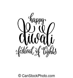 happy divali festival of lights black calligraphy hand...