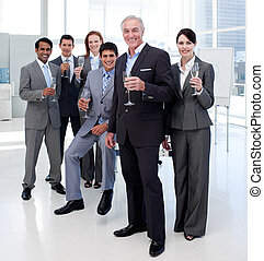 Happy diverse business group