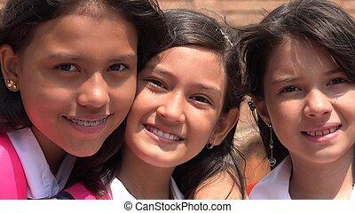 Happy Diverse Female Kids