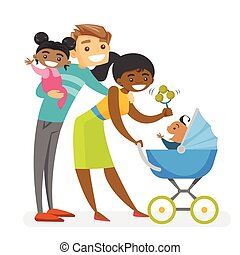 Happy diverse multiracial family with mulatto kids.