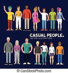 Happy Diverse People - A collection of happy diverse casual...