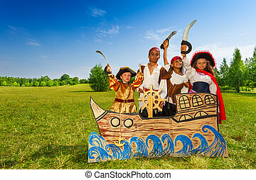 Happy diversity children as pirates with swords
