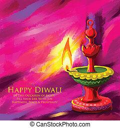 Happy Diwal Diya - vector illustration of holy diya for...