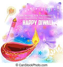 Happy Diwali background coloful with watercolor diya -...