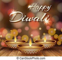 Happy Diwali background design with lights